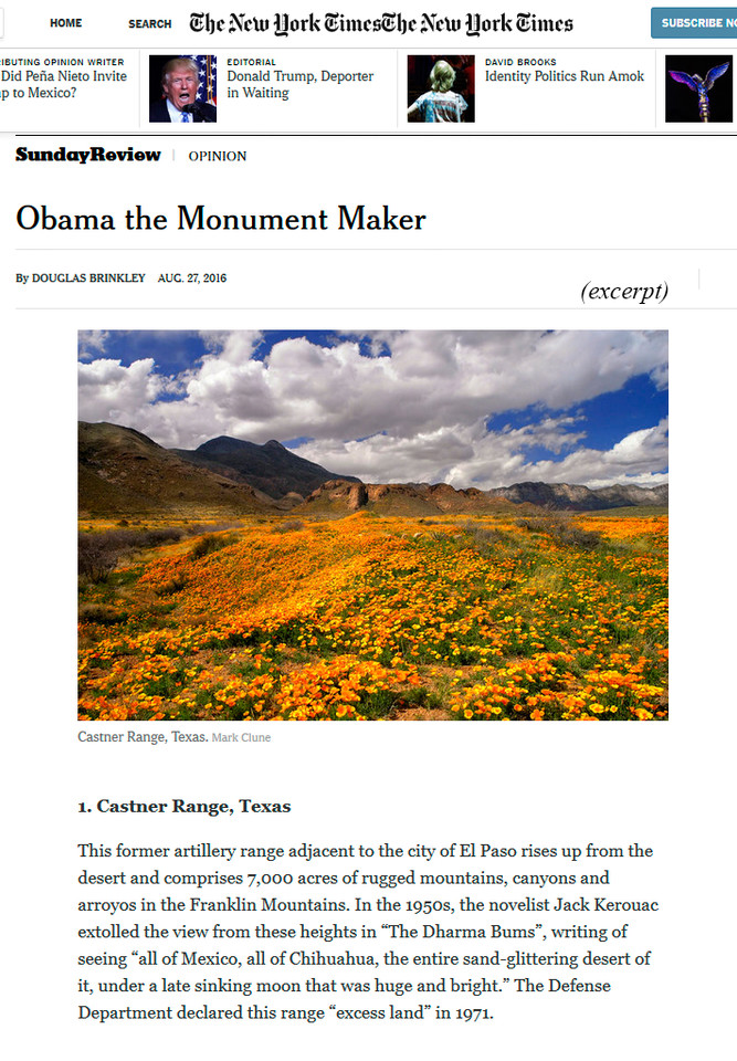 "August 2016: Mark Clune's photograph ""Castner Range Fields of Gold"" was featured in the Sunday edition of the New York Times newspaper for the article entitled, ""Obama the Monument Maker"" by Douglas Brinkley. Excerpt from the article is shown above."