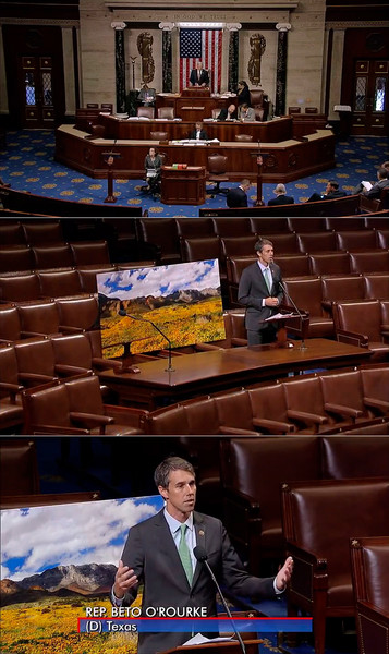 "September 2016: Congressman Beto O'Rourke (D-TX) makes a presentation on the House Floor of the United States Congress to promote proposed legislation to designate Castner Range in El Paso, Texas as a new national monument. Mark Clune's photograph ""Castner Range Fields of Gold"" was featured during the presentation."