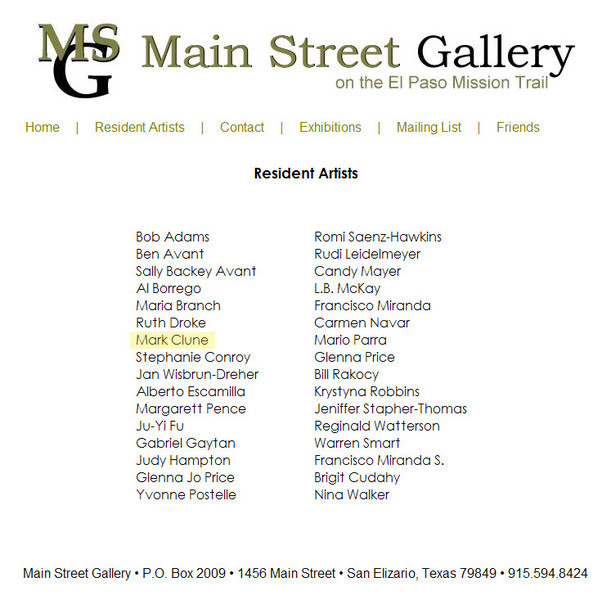 Resident artist of the Main Street Gallery in 2009.