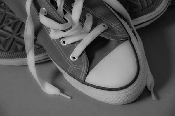 sneakers in black and white