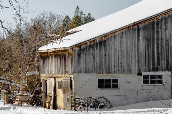 snowy farmyard