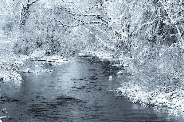 snowy creek in black and white