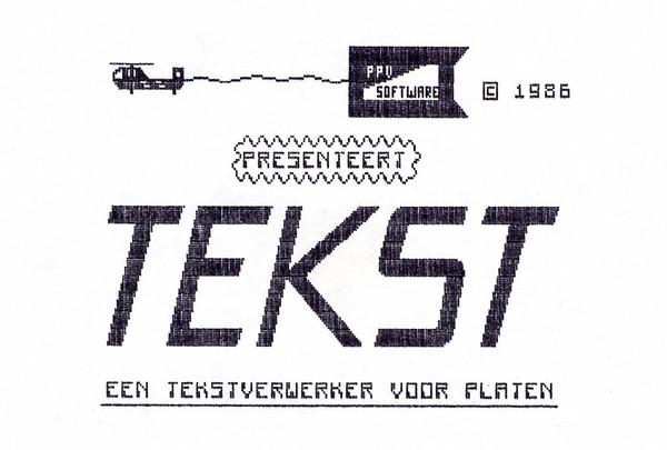 Uitgeprint startscherm van mijn programma 'Tekst'