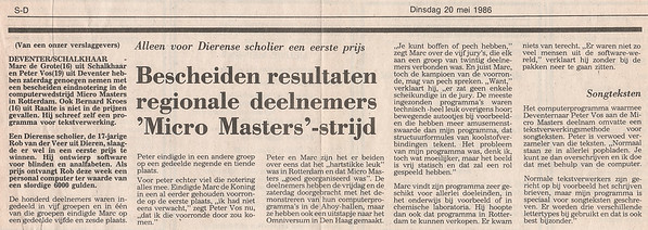 Artikel in Deventer Dagblad 20 mei 1986