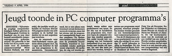 Artikel in Deventer Dagblad 4 april 1986