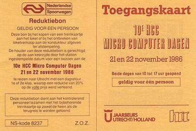 Reductiebon en toegangskaart 10e HCC Dagen 1986