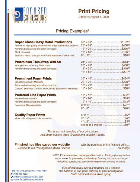 Photograph Print Pricing Examples