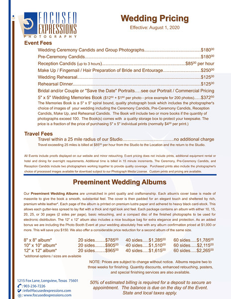 Wedding / Event Pricing