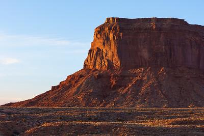 Monument Valley Mesa cliffs in golden light