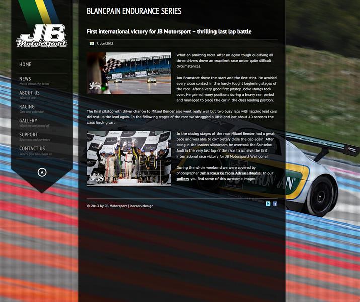 JB Motorsport web page