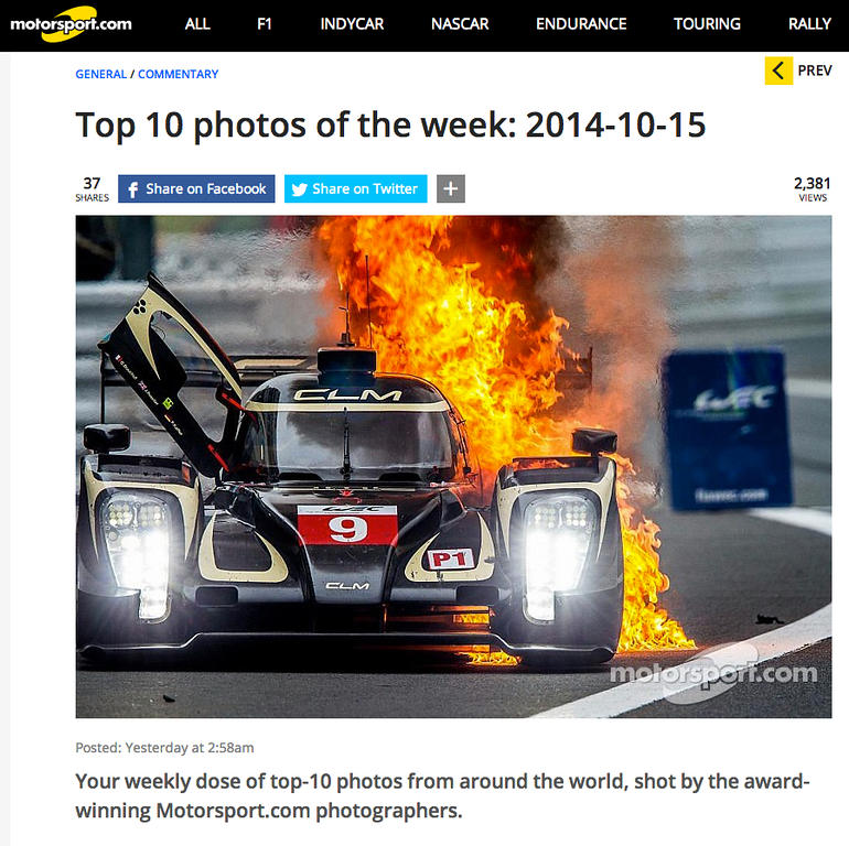 MotorSport.com Top 10 Photos of the week<br /> on-line article