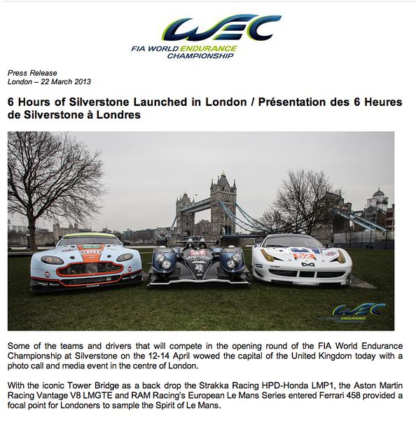 FIA WEC Press Release