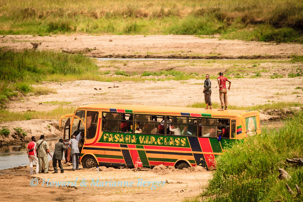 <h2>Pole Pole, Korna Kali Mbele !!</h2>This phrase in Swahili means <i>Slowly, Slowly, Sharp Bends Ahead</i>, and we repeatedly came across it written on the tarmac as we traversed mountain passes in Tanzania.  <i>It has become our motto for life in general!!</i>  Travelling in Africa is most dangerous when on the roads. Giant potholes wait to ambush you, and I try to spot the brown patches in the grey tar from afar.The local chauffeurs travel vast distances, and are excessively confident, a blend of rally and grand prix drivers moulded into one. Rolled over transport vehicles are encountered everywhere, after they have stopped rolling if you are lucky. So be very careful e.g.drive slowly i.e. old age adventurers have little cash but much time. Always look right and left at crossings, even if your traffic lights are green! Watch out for playing children, doublestory loaded bicycles,on narrow busy roads, and game or runaway cattle dashing out of high grass.We fitted a bullbar for our trip up Africa.This bus, filled with trainee tourist guides, got bogged down trying to cross a river bed in Tarangire National Park, Tanzania.  Never drive at night if you van help it!!