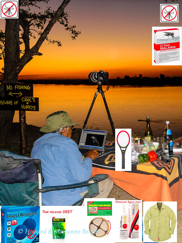 "<h2>The silent killer</h2>The wonderful sunset at our camping site at Kalizo Lodge, on the the Zambesi river, Caprivi strip. Lots of photographs to edit but danger of malaria must never be forgotten. The following summarizes the measures we take to prevent  malaria. <i>These tips are only general guidelines to help you understand the possible choices</i>. We are meticulous about measures to avoid being bitten because we do not take prophylactic tablets such as mefloquin or malarone. We took this decision because we spend 6 months a year in the bush and were worried about the side effects of prolonged ingestion of antimalarial drugs.  The specific measures, that would be the best for you and your family, will depend on factors such as the countries you will visit, time of year, length of  stay, previous adverse reactions to anti-malaria drugs, age of your children, pregnancy etc. <b>Thus you must consult your general practitioner and specialist travel clinic for the most up to date and appropriate information.</b> To help you understand the possible choices see the excellent detailed information, which is continually updated, at the following sites:   1.	http://wwwnc.cdc.gov/travel/ 2.	http://www.who.int/en/ 3.	http://www.malaria.com/ 4.	http://www.nathnac.org/travel/  Avoiding malaria involves several steps, known as the 'ABCD' of malaria prevention: A. Awareness of risk – find out if your trip will take you to a malaria risk area.   B. Bite avoidance – a) Insect repellents: See excellent review  http://en.wikipedia.org/wiki/Insect_repellent  There is no evidence that vitamin B ingestion including B1 (thiamine), garlic, or the ultrasonic devices (http://www.thecochranelibrary.com/userfiles/ccoch/file/CD005434.pdf.), work. See recent BBC summary on failure of electronic repellents:- http://www.bbc.co.uk/news/magazine-20669080. Useful repellants include candles, commonly containing citronella as the active ingredient. Other candles based on other indigenous plant oils have been marketed but reports on their efficacy are mixed or not available. We have stopped using the candles and prefer to use insecticie coils. The candles are bulky to store on our long trips, and after a few hours the flame is repeatedly  doused as the wax melts.  For local application to the skin Citronella is also effective but it evaporates rapidly and requires frequent reapplication. Oil of lemon eucalyptus has had positive results in some studies and its products are increasingly being marketed. However DEET, a synthetic chemical,  is the most effective deterrent  for topical application (see below). To limit the amount of chemicals we apply to our skin we also use plant oil based repellant patches. They are stuck onto clothes and when the patch is pressed there is  delayed release of repellent  (see 1st inset from left). I have no information on their effectiveness but they do give off a powerful odour which may decrease your circle of friends if not the number of mosquitoes!  DEET (N,N-Diethyl-meta-toluamide) is a synthetic repellent that is applied to the skin. It has been widely used for many years and is regarded as the gold standard for repelling mosquitoes. Encephalopathy has been reported, but very infrequently. Nevertheless the amount applied must be limited, especially in children and pregnancy as it is absorbed through the skin, see review about extra precautions needed in children (http://en.wikipedia.org/wiki/DEET). I even grow a beard on safari to limit the needed application surface. Deet is available in different concentrations,as a spray, lotion, or stick, from different manufacturers. The higher the concentration used the longer the duration of action, but unfortunately also the amount absorbed ithrough the skin. We have started using a DEET product called Ultrathon by 3M, which is only available as a spray or a lotion. It has a has a time release mechanism that makes it is effective for up to 12 hours, despite its relatively lower concentration of 35% (2nd inset). It is not available in the Netherlands and we order it via Amazon UK. It is unfortunately not available as a stick and we use the lotion because we do not want to inhale sprays. <i>With all DEET preparations carefully read the detailed instructions e.g. limit use in children, do not use under clothes,, keep away from plastics e.g. sunglasses</i>. The expiry date of all medical products must be carefully noted but  DEET is extremely stable and  remains effective for many years! (www.deetonline.org/faq.html) b) Insecticides: products based on plant pyrethrums are available to kill the mosquitoes. Mosquito coils which must be lit to release the toxic fumes contain the synthetic pyrethroid  ""allethrin"". They are popular. We found the coils were very fragile and not easy to use, until we started placing them in the special coil holder that is available(3rd inset ). We are concerned about recent information of the potential toxic effects of the particles they release, and will only use them outdoors around our table.  c) Wear long-sleeved shirts/long trousers, socks, I do even wear my hat at night to protect a balding head, and drape a head net over it if insects are really bad. Sleep under an intact mosquito net  (pre-dipped in permethrin, a synthethic pyrethroid)). Our Eezi Awn rooftop tent has mosquito netting on doors and windows and it is not practical to use a mosquito net inside the small area. Permethrin sprays (4th inset) to treat textiles e.g. tent, nets, sleeping bags, and clothes  are also available http://www.hhltechnology.org/vital-protection-anti-mosquito . The treatments must be regularly repeated e.g. every 3 months or after 30 washes. My hat, shirt, and trousers  in the picture had been treated. However, since Craghoppers  http://www.craghoppers.com/ introduced their Nosilife clothing, which is permanently impregnated with Permethrin, we have been changing over to their clothes (5th inset). Studies done in army troops show that the combination of topical application of DEET and Permethrin impregnated clothing offers the best protection against mosquitoes. d) Don't forget the biting time is dusk and dawn, as in the morning rush one may forget to cover up. The rules get harder to follow when it is very hot so increase DEET coverage if you decrease your clothing cover. Also rain and sweat will decrease the effective duration of protection with DEET. We are amazed to see the hundreds of mosquitoes ganging up in the showers in the camps and so we  try to shower in our afternoon breaks rather than the evenings. We also have a AA battery charged mosquito swotter near at hand (inset on table). But remember the anopheles mosquito is silent so you will often swot the innocent! This weapon is probably more useful to defend against tsetse fly squadron attacks!!  C. Check – with your GP and travel clinic if you need malaria prevention tablets. Take the correct tablets, start on time, follow the exact schedule and always finish the course.  D. Diagnosis – see a doctor IMMEDIATELY if you have any symptoms (e.g fever, flu), even for a year after you return. Tell the doctor you have been at risk. Because we are sometimes far from medical help we have a self diagnosis finger prick kit with us (inset at top), as well as a course of therapy using CoartemR  for use in an emergency. The diagnostic kit is very reliable, but remember to check the expiry date as it will be used infrequently. But I will always contact expert help as well using our satellite telephone if necessary, as the symptoms are not specific e.g. headache, nausea.  Nothing guarantees 100% protection against malaria – it is important to protect yourself and your family as much as possible, but if you have any symptoms, see a doctor Don't forget we are not experts on this subject and are just providing our own opinions and internet references to help you wade through the mass of information that is available.<b>You must get the expert advice of your GP or travel clinic on what the optimal preventive measures are for you and your family!!</b>"