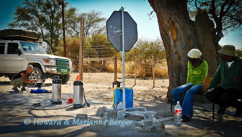 <h2>McMarianne's: a new fast food chain</h2> Foot and mouth disease, a viral infection, of cloven hoofed animals e.g.cattle, pig, sheep is endemic in areas of Botswana i.e. the north where wild animals and cattle mix. So very strict regulations are present at border posts and zonal control points when travelling from the north. No fresh red meat and dairy produce may cross over the line. Best is to buy these foods after crossing borders and ask in the supermarkets if you can expect control points. We supplied up in Maun for a long stay in the Central Kalahari desert. Thus you can see that Marianne had to cook our whole week's supply of meat  to get it across!!!! Bus loads of local people kept teasing her, and asking if she was opening a new new fast food restaurant! The spraytanks shown are for the tires, and you will have to put soles of all shoes in a disinfectant bath. Do not try and smuggle the virus through(!) the damage to the cattle industry  was immense in 2011. Plan where you'll stock up, eat chicken, and tinned produce