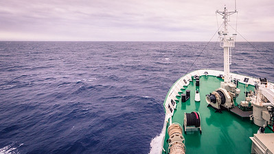 We would cross Drakes Passage where the Southern Atlantic and Pacific collide.  This pictures shows an usually calm day during our 10 day journey.  On the return trip we would see waves and swells 8 meters high as reporting by the ship's staff.