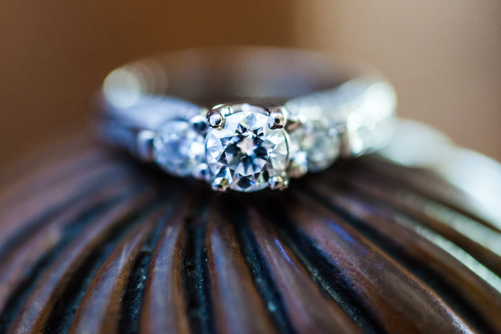 Close up of wedding ring at Belhurst Castle in Geneva, NY.