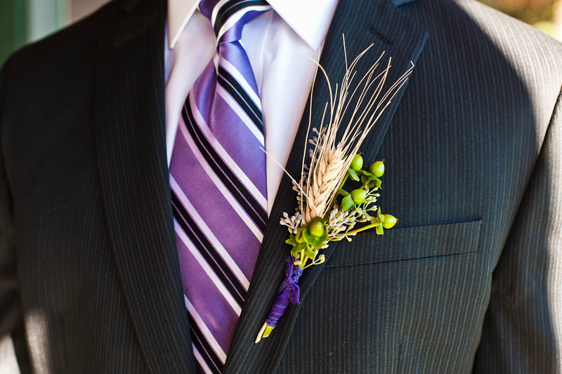 Groom's purple tie, purple ribbon with wheat, Bristol Harbour Resort, Canandaigua, NY