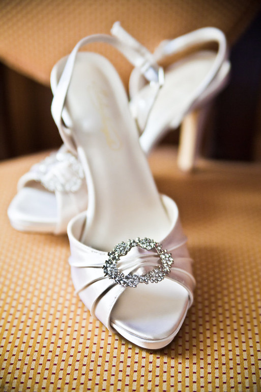 Elegant wedding shoes for the bride at Inn on the Lake, Canandaigua, NY