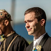 A groom tears up as he sees his bride walk down the aisle at Belhurst Castle in Geneva, NY.