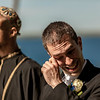 A groom starts to cry as he sees his bride walk down the aisle at Belhurst Castle in Geneva, NY.