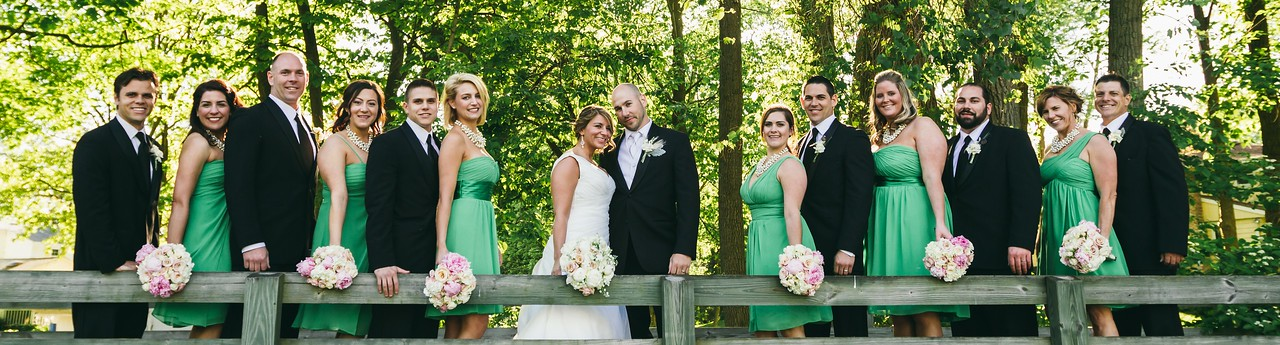 Bridal party on the the bridge at Midvale Country Club in Penfield, NY.
