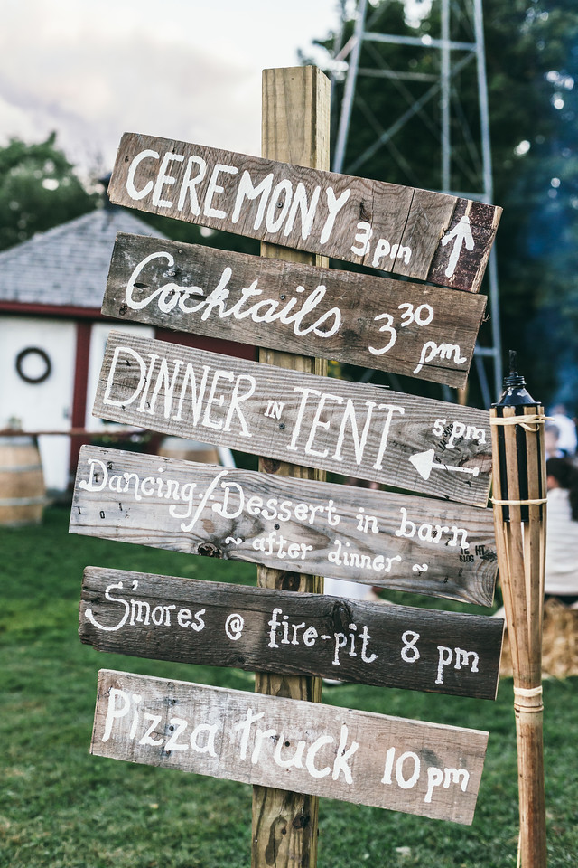 Playful sign instructing wedding guests a private Pittsford, NY, farm wedding.