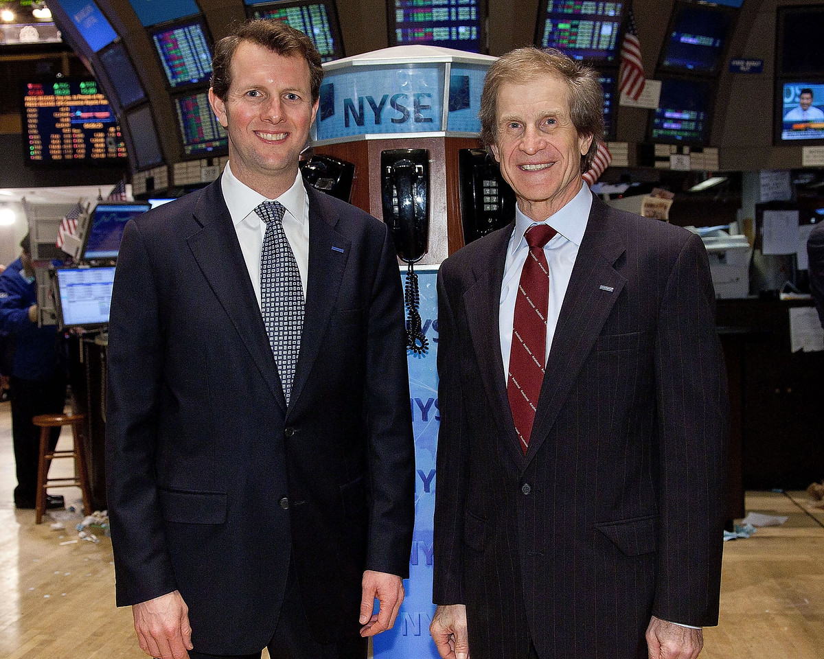 NEW YORK, NY - FEBRUARY 9:  R. Adam Norwitt, President and CEO and Martin H Loeffler, Board of Director of Amphenol ring the closing bell at the New York Stock Exchange on February 9, 2011 in New York City. (Photo by Ben Hider/NYSE Euronext)