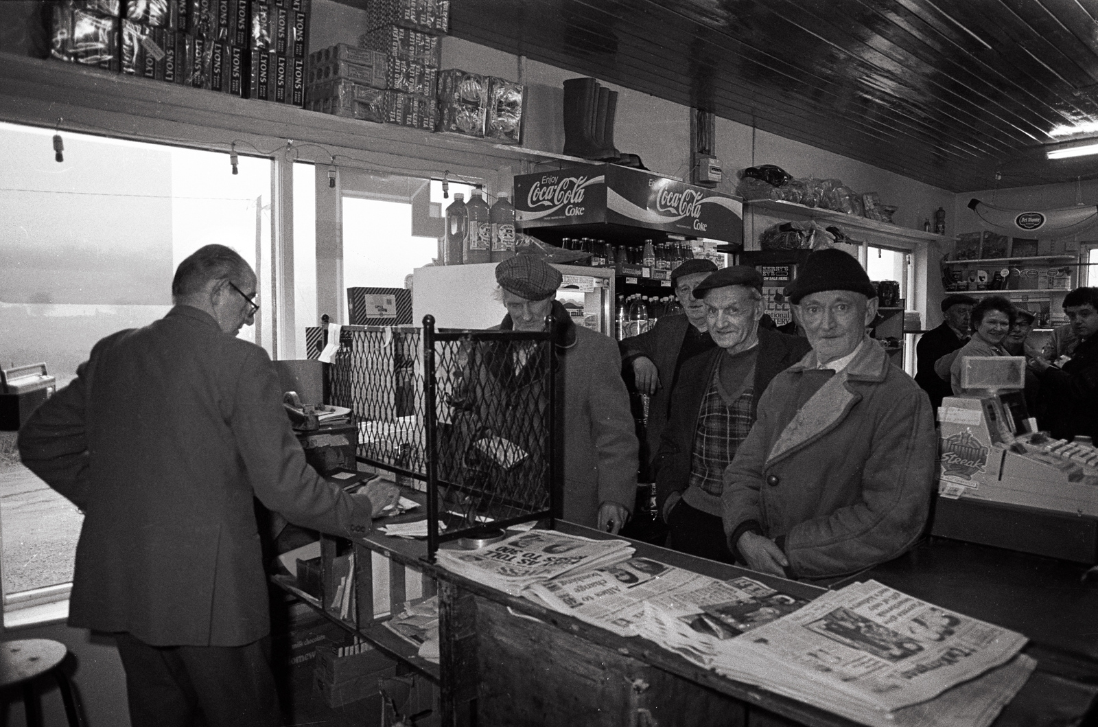 Lyre Post master stamps the books  of Pensioners in the rurual post office in North Kerry.<br /> Photo Brendan Landy