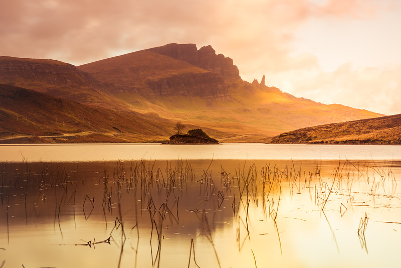 Loch Fada with Old Man of Storr in clouds, Isle of Skye, Scotland