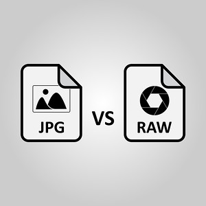RAW vs JPG file on white background vector