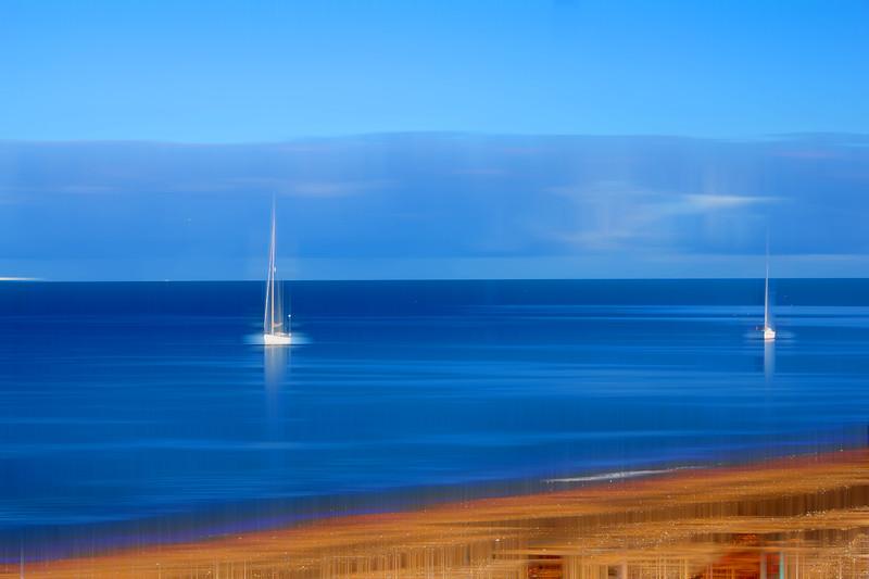 Yachts at Sea at Slapton Sands Devon