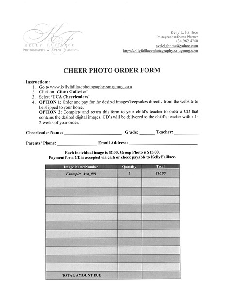 UCA Cheer Photo Order Form