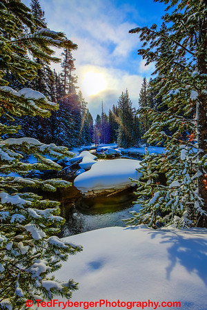 Snowy Sunny Firehole River