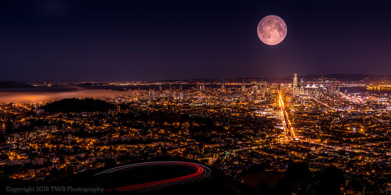 Full Moon over San Francisco downtown