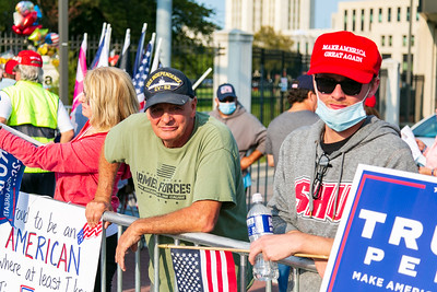 Supporters of President Donald Trump rally outside of Walter Reed Hospital