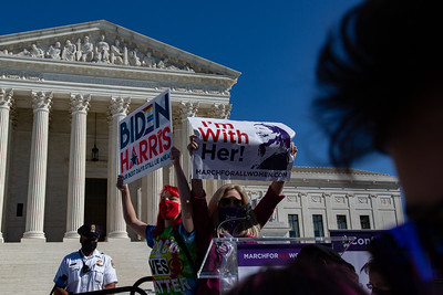 Protesters from different groups demonstrate in front of the Supreme Court on Saturday, October 17, 2020.