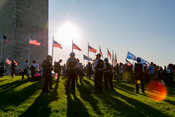 A small group of Trump supporters gathered near the Washington Monument after news media called the election for Joe Biden
