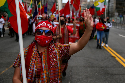 Demonstrators in Washington D.C. protest against the coup in Myanmar