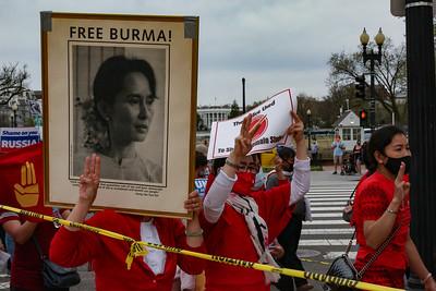 Myanmar demonstrators outside White House