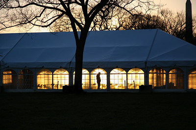 Empty event tent with chairs on National Mall