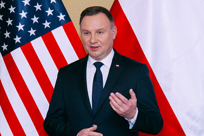 Poland President Andrzej Duda Speaks to a Crowd
