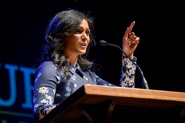 Nina Davuluri, the first Indian American woman to win Miss America, speaks to an audience on Mar. 9 at Loeb Playhouse. (Alex Kumar/The Purdue Exponent)