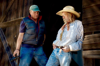 Photo of Christopher Briscoe with cowboy by David Winston, April 2016 near Ashland, Oregon.