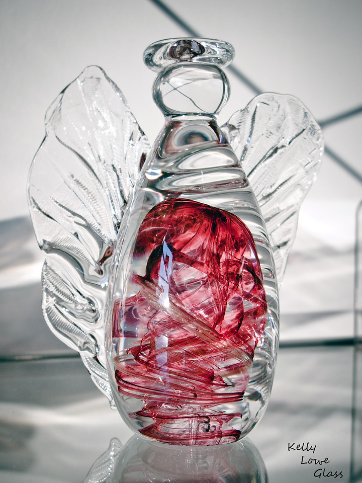 Glass Angel with red swirling colour. Handmade by Kelly Lowe of Kelly Lowe Glass.