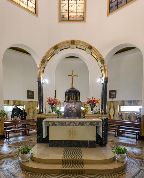 Interior of Roman Catholic chapel at Mount of Beatitudes