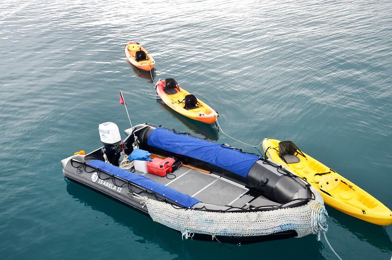 Isabela II panga and kayaks