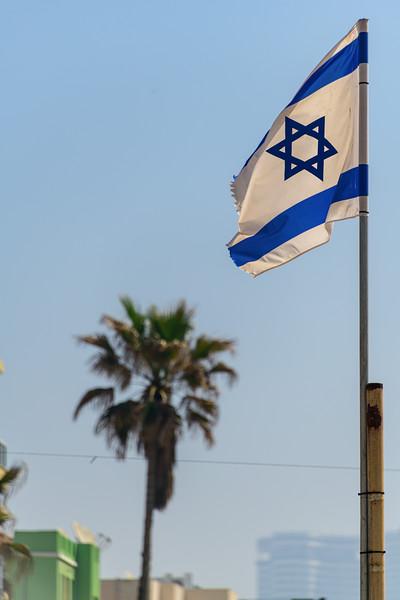 Israeli flag over Tel Aviv beach