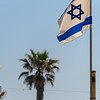 Israeli flag over Tel Aviv beach