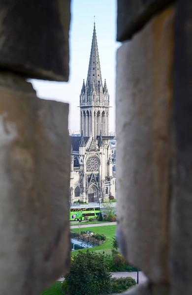 Church of Saint-Pierre Visible Through Arrow Slit in Caen Castle